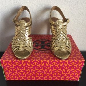 """Tory Burch gold foil """"Nadia"""" stacked heel sandals"""